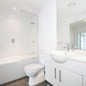 One Piece Tub & Shower with Towel Bar